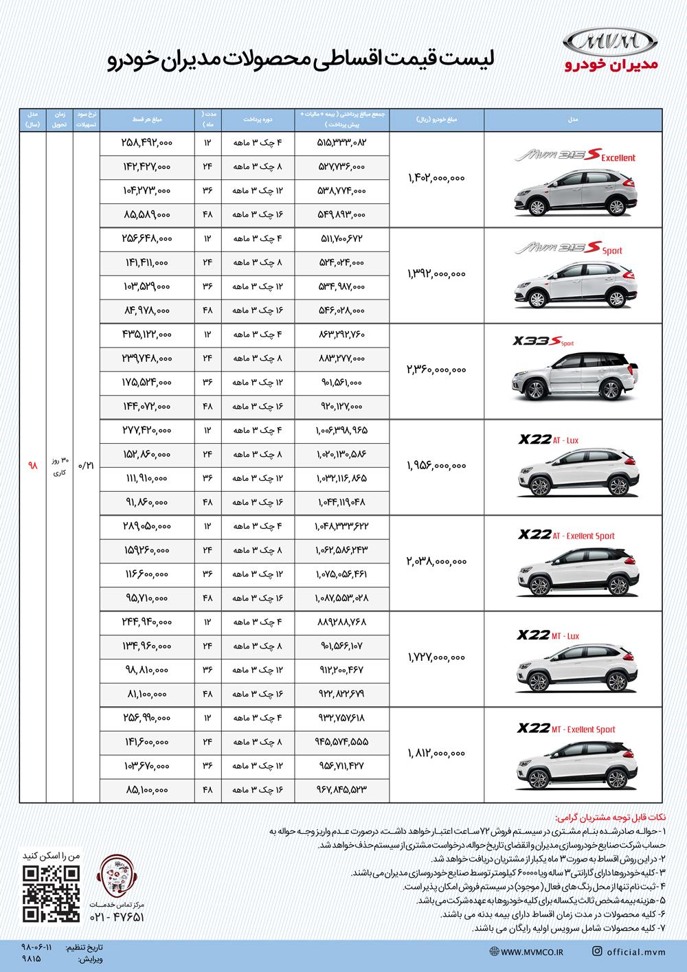 اعلام طرح فروش اقساطی مدیران خودرو با اقساط متنوع