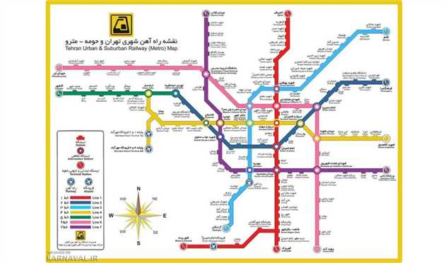 راهنمای استفاده از نقشه مترو تهران ارانیکو